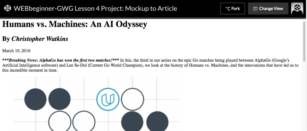Udacity Lesson 4 Project: Mockup to Article
